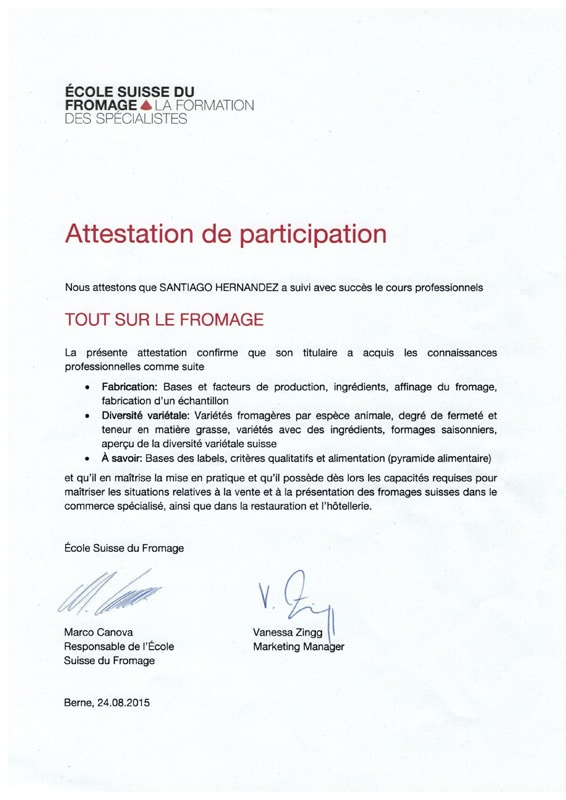 Attestation Ecole du Fromage