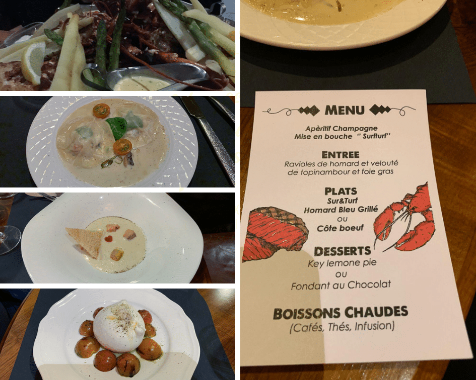 Le menu et les plats